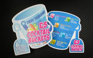 ulotka coctail buckets przyciągająca uwagę